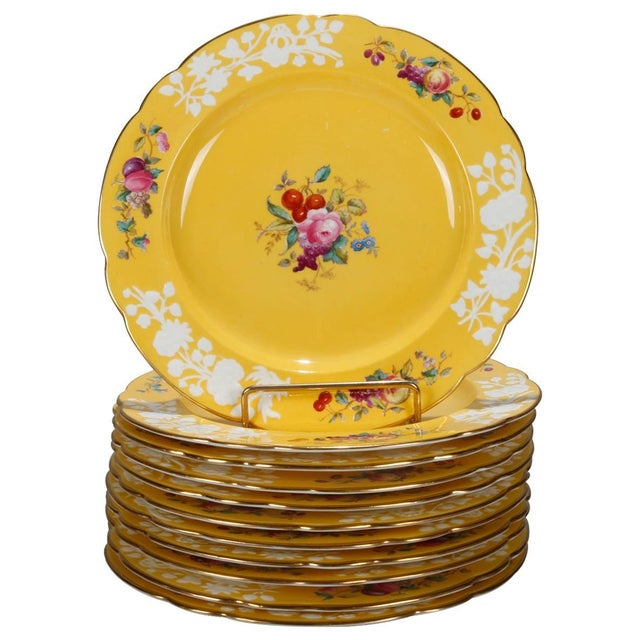 Mid 20th Century 20th Century Copeland for Tiffany Floral Porcelain Luncheon Plates - Set of 12 For Sale - Image 5 of 5
