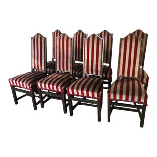 1930s Vintage Spanish Art Deco Dining Chairs- Set of 8 For Sale