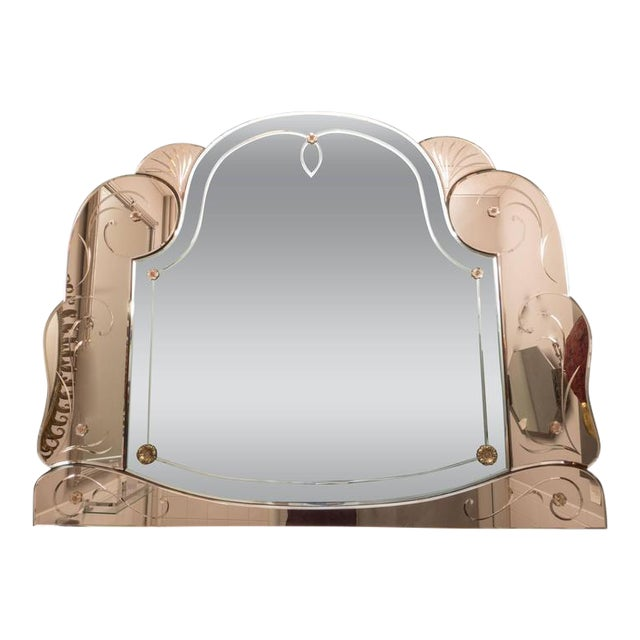 Magnificent Art Deco Rose Gold and Silver Mirror with Flora and Fauna Accents For Sale