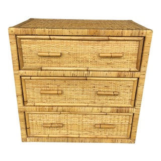 Vintage Woven Rattan Wicker Chest of Drawers For Sale