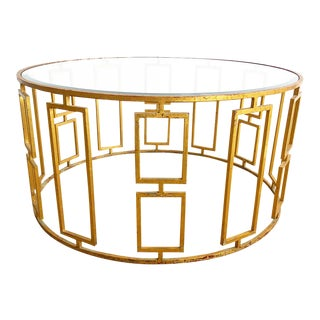 Round Metal Outdoor Cocktail Table W/ Aged Gold Finish