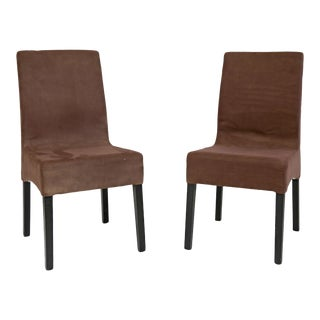 Brown Microsuede Dining Chairs - A Pair
