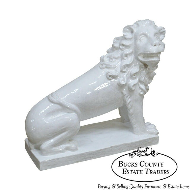 French Faience Pottery Tuilerie Normande Vintage Large White Seated Lion Statue For Sale - Image 13 of 13