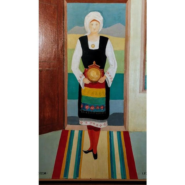 Vintage Mid-Century Bulgarian Soukman Saya Costume Folk Art Painting For Sale In Oklahoma City - Image 6 of 11