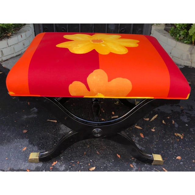 Vintage French Art Deco X Bench W Marimekko Seat For Sale In Los Angeles - Image 6 of 6