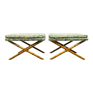 Pair Hollywood Regency Faux Bamboo X Benches For Sale
