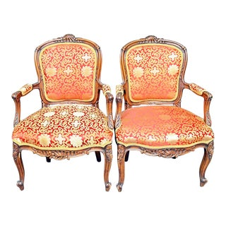 Late 19th Century French Carved Armchair Fauteiuls- a Pair For Sale