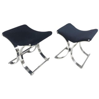 Pair of Art Deco Decorator Heavy Chrome X Base Benches / Footstools Velvet Seats For Sale