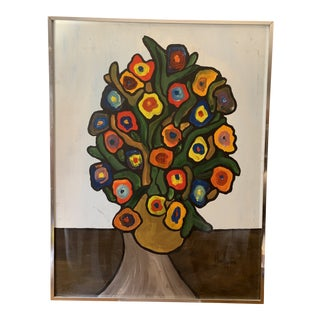 Vintage 1970's Abstract Original Flowers Oil Painting Signed Hawthorne For Sale