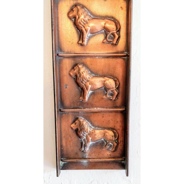 Late 19th Century Vintage Copper Chocolate Candy Mold Mould Lion Tray For Sale - Image 5 of 9