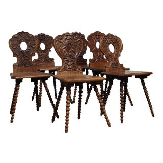 Italian Renaissance Revival Hall Chairs - Set of 6 For Sale