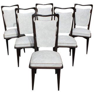 French Art Deco Solid Macassar Ebony Dining Chairs - Set of 6