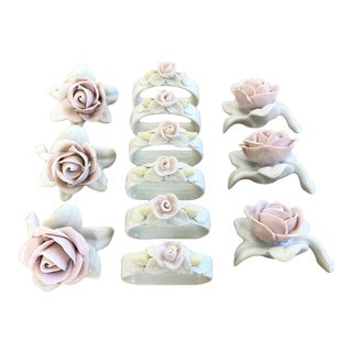 Porcelain Napkin Rings & Place Card Holders - Service for 6 For Sale