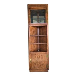 Henredon Folio Campaign Style Lighted Walnut Corner Display Cabinet For Sale