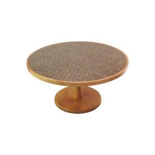 Vintage Mid Century Round Martz Tile Top Coffee Table