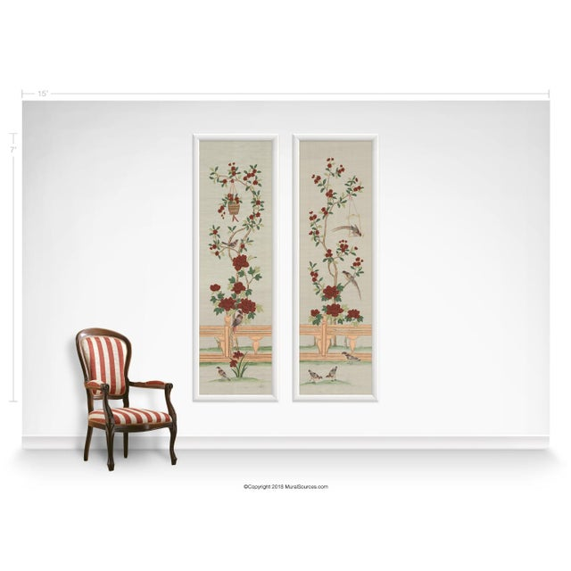 Chinoiserie Casa Cosima Indra Diptych II Wallpaper Mural - Sample For Sale - Image 3 of 5
