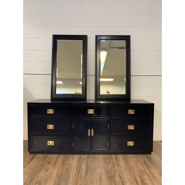 1960s Vintage Campaign Style Refinished Dresser WIth Two Mirrors For Sale - Image 10 of 10