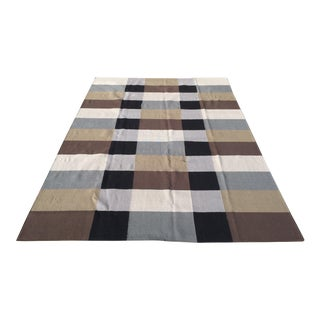 Contemporary Black/ Gray/ Brown/ Cream Dhurrie Wool Rug - 9' X 12' For Sale