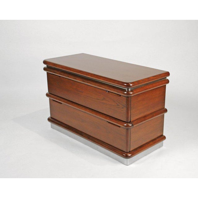Contemporary Jay Spectre Modernist Walnut and Brushed Stainless Nightstands For Sale - Image 3 of 10