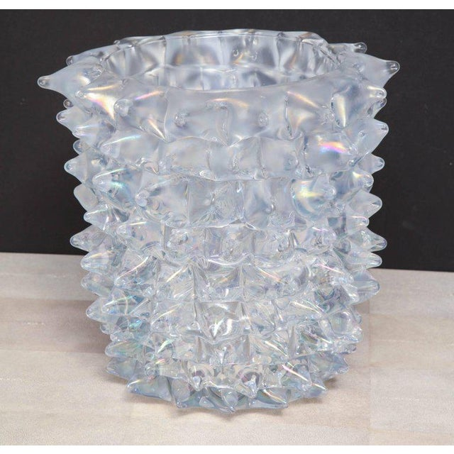 Transparent Enormous Signed Sinoretto Murano Iridescent Clear Glass Spiked Vase For Sale - Image 8 of 10