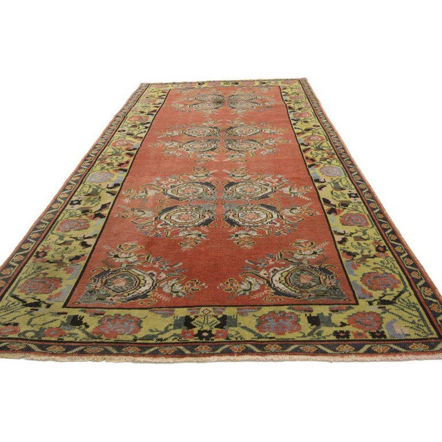 Islamic Vintage Turkish Oushak Gallery Rug Runner - 4'6 X 9'6 For Sale - Image 3 of 8
