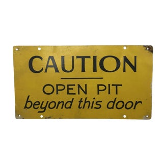 Hand-Painted Metal Open Pit / Mail Room Sign For Sale