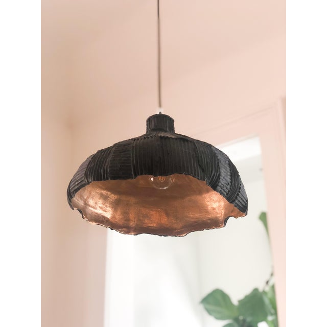 Contemporary Paper Clay Gold & Black Light Fixture For Sale - Image 3 of 4