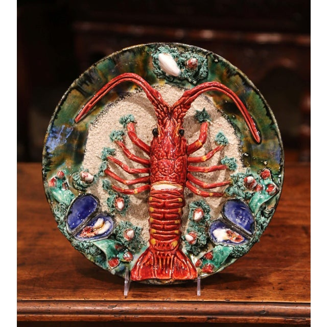 Early 20th Century Early 20th Century French Ceramic Barbotine Lobster Platter From Brittany For Sale - Image 5 of 9