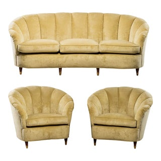 Coquille Form Sofa and Pair of Chairs Attributed to Paolo Buffa For Sale