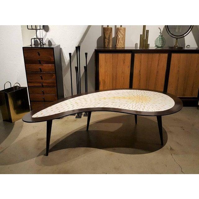 Mid Century Tile Top Coffee Table: Biomorphic Mid-Century Modern Mosaic Tile Coffee Table