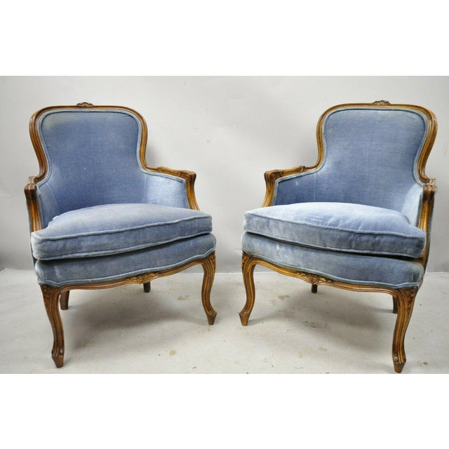 Weiman / Warren Lloyd Vintage French Louis XV Provincial Blue Bergere Lounge Arm Chairs - a Pair. Item features solid wood...