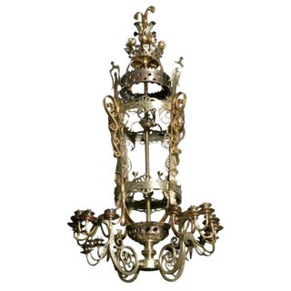 19thc French Antique Gilt Bronze & Gilt Iron Palace Chandelier 100+Lights/ Meditteranean Revival For Sale