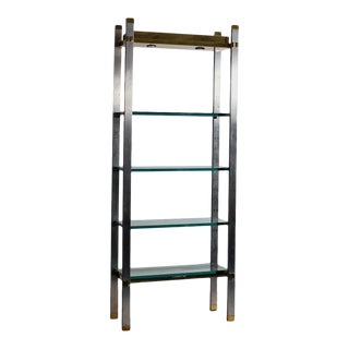 Polished Aluminum and Brass Etagere For Sale