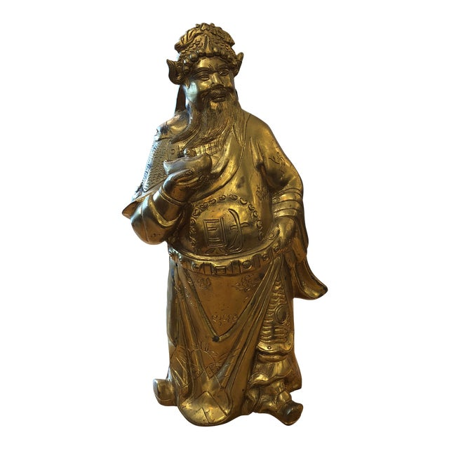 Brass Chinese God of Wealth Sculpture For Sale