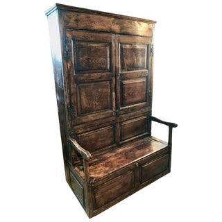 18th Century English Elm and Ash Bacon Settle Cabinet With Attached Bench For Sale