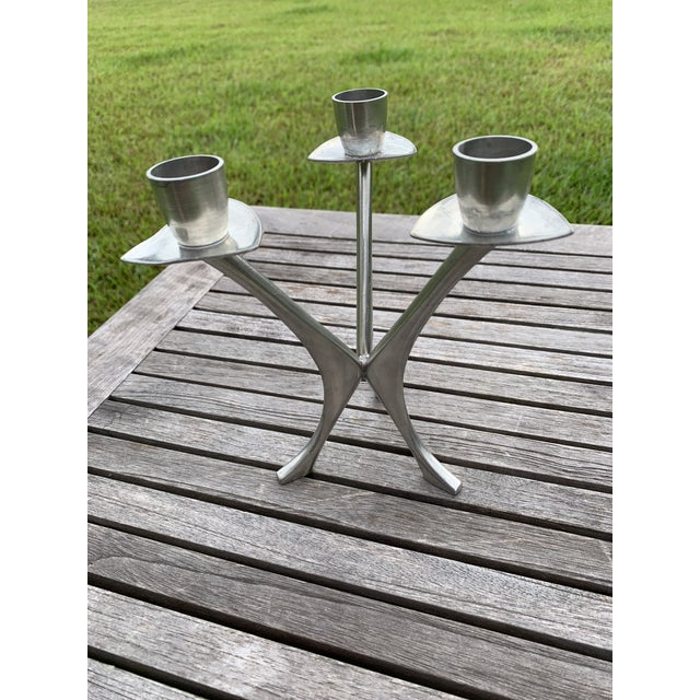 Vintage Norwegian Pewter 3 Branch Candle Holder by Brodrene Mylius 1950's For Sale - Image 12 of 12