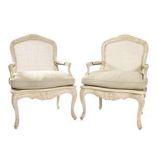 Early 20th Century Vintage Caned Armchairs- A Pair For Sale