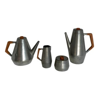 Mid-Century Royal Holland Pewter and Teak Tea Pot Set of 4 For Sale