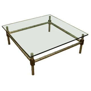 Oversized Faux Bamboo Coffee Table For Sale