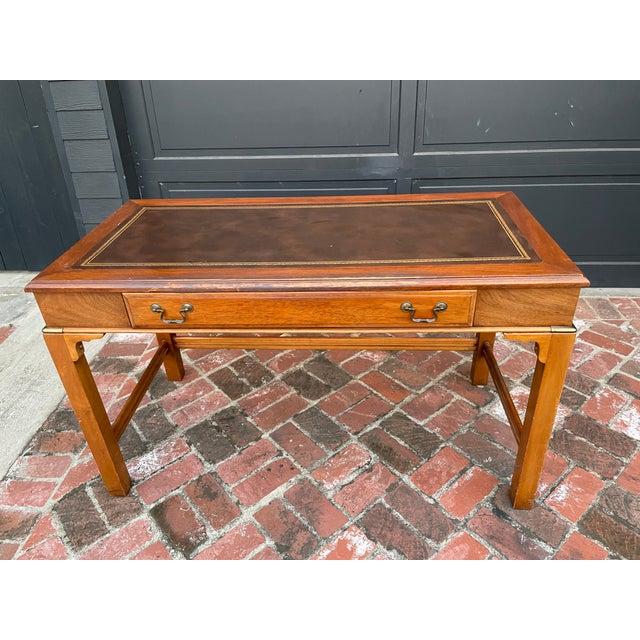 Vintage Lane Altavista Mahogany, Brass, Leather Desk For Sale - Image 9 of 9