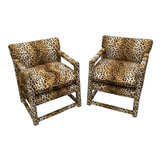 Velvet Cheetah Newly Upholstered Parsons Chairs - a Pair** For Sale