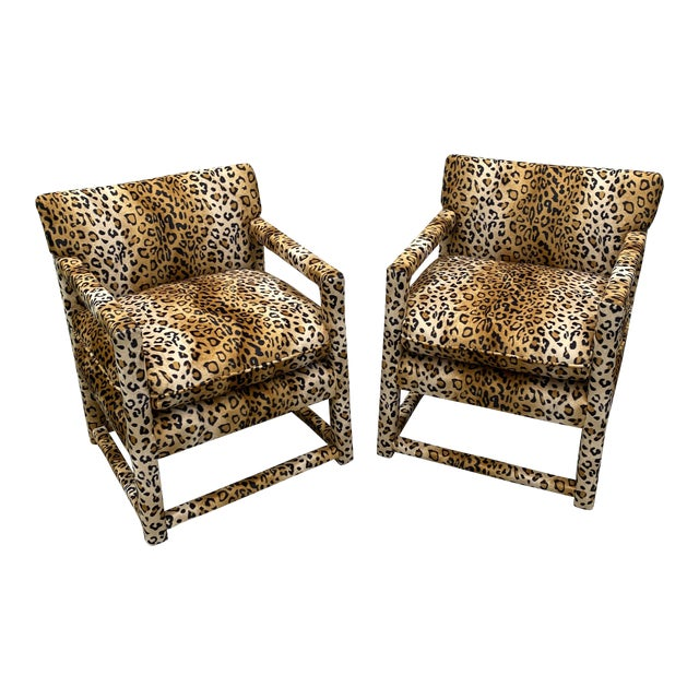 Velvet Cheetah Newly Upholstered Parsons Chairs - a Pair For Sale