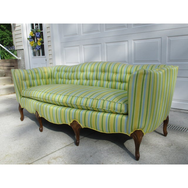 Vintage French Striped Sofa For Sale - Image 6 of 12
