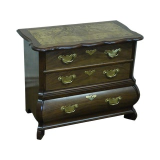 Baker Furniture Burl Wood & Walnut Bombe Chest For Sale