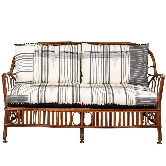 1920s Bent Wood Loveseat Settee With Injiri Upholstery For Sale