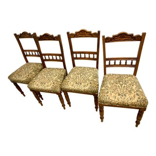 Edwardian Walnut Dining Chairs - Set of 4 For Sale