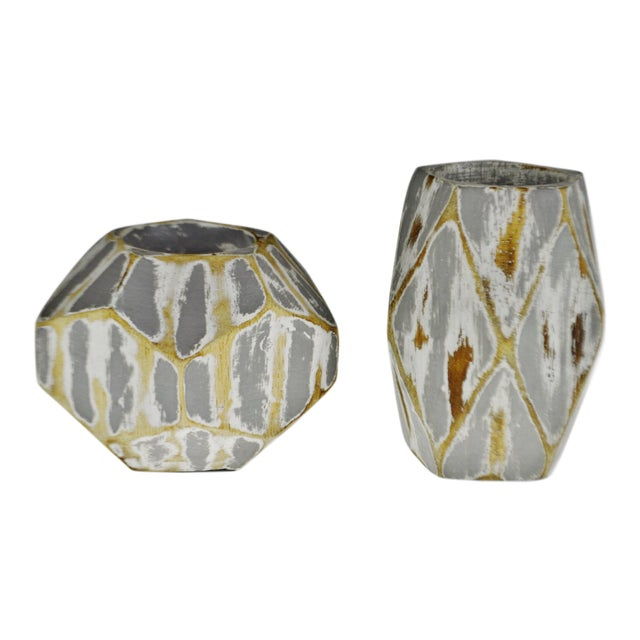Vintage Geometric Faceted Votive Candle Holders - a Pair For Sale