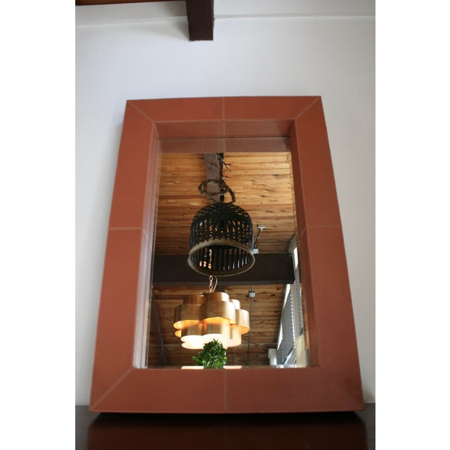 Lodge Brooke Leather Mirror For Sale - Image 3 of 5