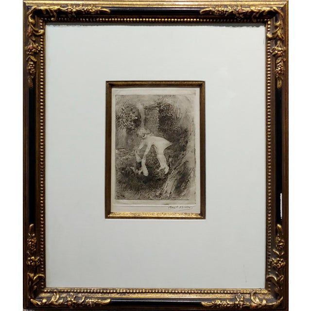 Armand Berton - Mother & Child - Original Etching -c1900s Etching on paper -Signed circa 1900 COA included. frame size 18...