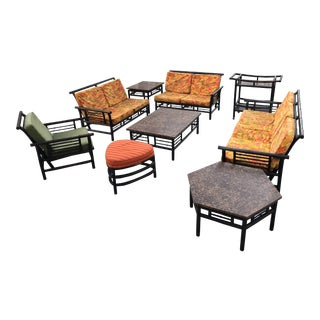 Ficks Reed Rattan Bamboo Patio Set - Set of 9
